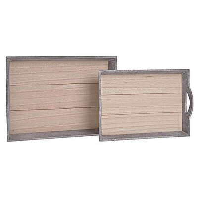 Inart 2 Piece Wooden Tray Set