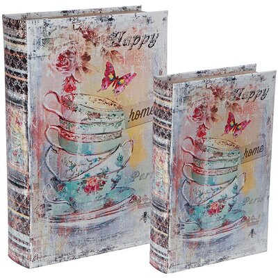 Inart 2 Piece Wooden and PU Cup Book Box Set