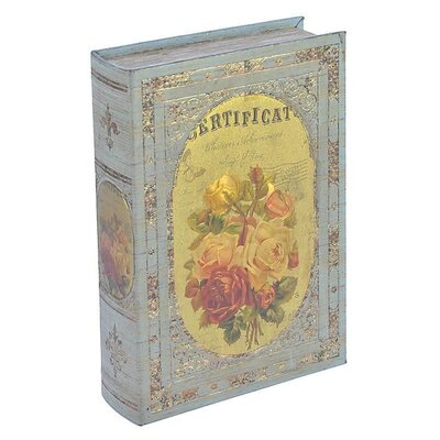 Inart Wooden and PU Book Box with Roses