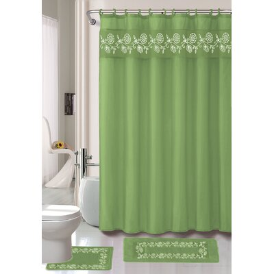 Leaves 15 Piece Shower Curtain Set Color: Green