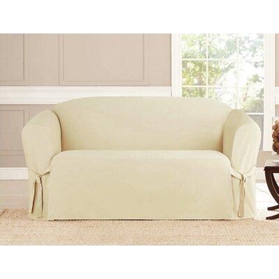 Box Cushion Loveseat Slipcover Upholstery: Beige