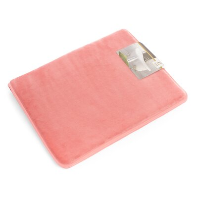 "Non-Slip Memory Foam Tub-Shower Bath Rug Color: Coral Pink, Size: 1"" H x 17"" W x 24"" D"
