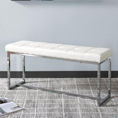 Huntington Modern Bench Upholstery: White