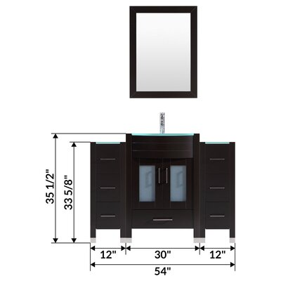 "Peterman 54"" Single Bathroom Vanity Set with Rectangular Mirror"