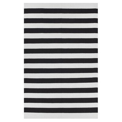 Fab Habitat Zen Hand Woven Black/Bright White Area Rug