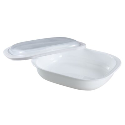 Corelle Bake, Serve and Store Rectangle Glass Roaster in White with Lid