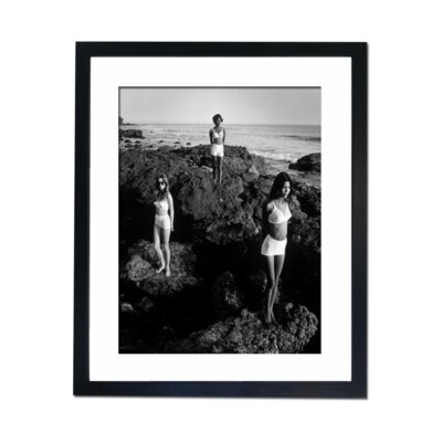 Culture Decor Three Models on The Rocks Framed Photographic Print
