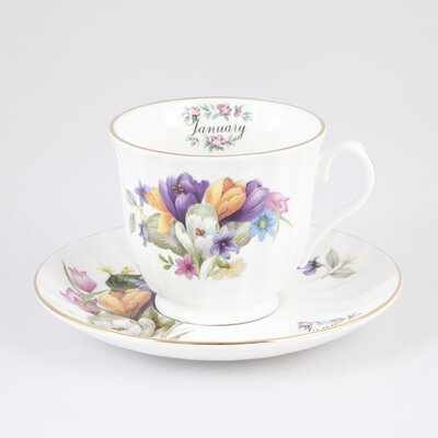 Buttercup of London Flowers of the Month January 30cm Bone China Cup and Saucer