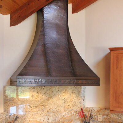 "48"" Milano 1200 CFM Ducted Wall Mount Range Hood Color: Dark Brown Patina, Height: 50"""