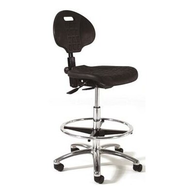 Height Adjustable Self Skin Laboratory Stool with Seat and Back Tilt Base Finish: Polished Aluminum