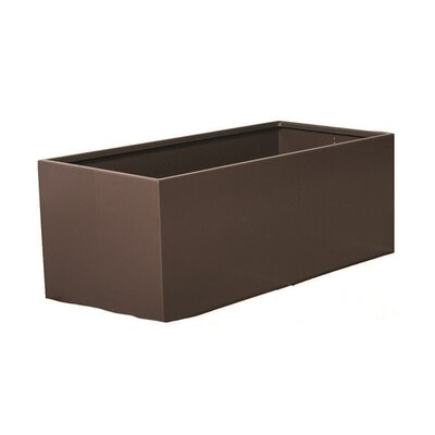 "Rhoton Rectangular Metal Planter Box Color: Chocolate Brown, Size: 30"" H x 48"" W x 24"" D"