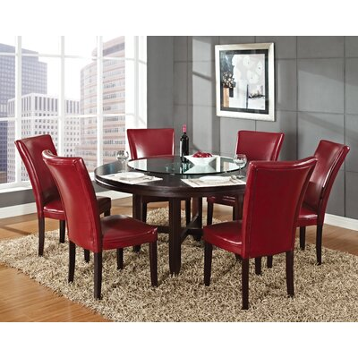 Fenley 5 Piece Dining Set Chair Upholstery: Red