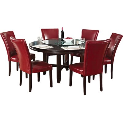 Fenley 7 Piece Dining Set Chair Upholstery: Red