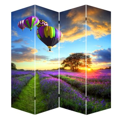 Azurine Air Balloons Art Canvas 4 Panel Room Divider