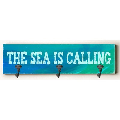 Caitlin The Sea Is Calling Solid Wood Wall Mounted Coat Rack