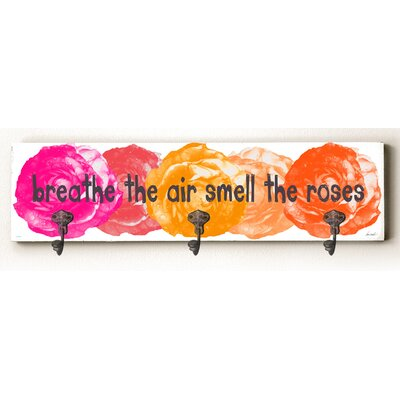 Cali Breathe the Air Smell the Roses Solid Wood Wall Mounted Coat Rack