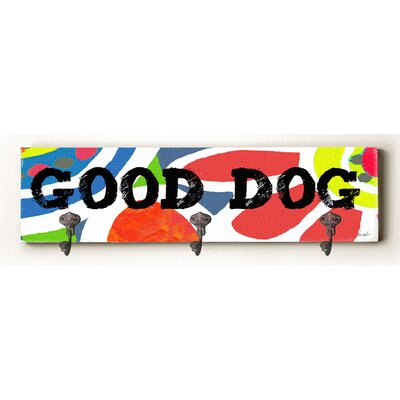 Aiden Good Dog Solid Wood Wall Mounted Coat Rack