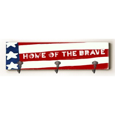 Cameron Home of the Brave Solid Wood Wall Mounted Coat Rack