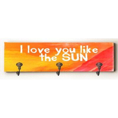 Camille I Love You like the Sun Solid Wood Wall Mounted Coat Rack
