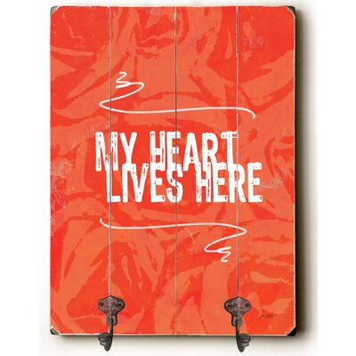 Camryn My Heart Lives Here Planked Wood Wall Mounted Coat Rack