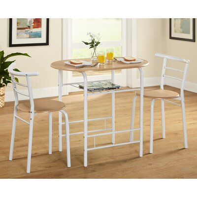 Volmer 3 Piece Compact Dining Set Color: White/Natural