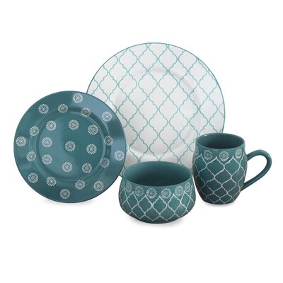 Moroccan 16 Piece Dinnerware Set, Service for 4 Color: Turquoise