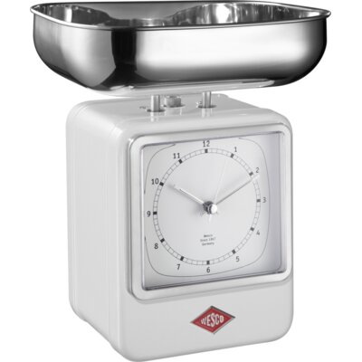 Mechanical Kitchen Scale with Clock Color: White