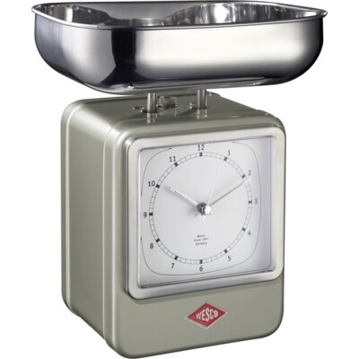 Mechanical Kitchen Scale with Clock Color: New Silver