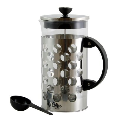 4-Cup Mr Coffee Polka Dot Brew French Press Coffee Maker with Scoop