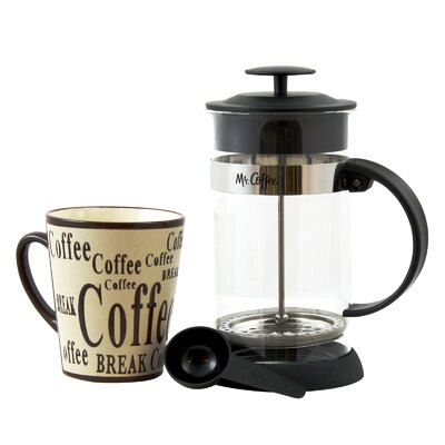 4-Cup Mr. Coffee Oasis Glass French Press Coffee Maker with Mug