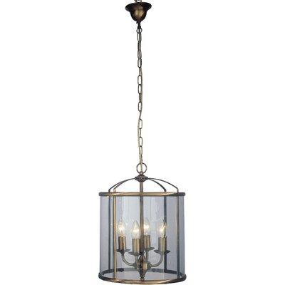 JH Miller Panelled Lantern 4 Light Foyer Pendant