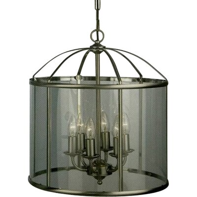 JH Miller Panelled Lantern 6 Light Foyer Pendant