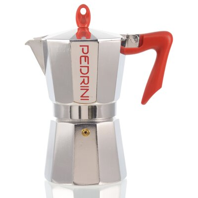 Pedrini Stovetop Espresso Pot Silver with Red Handle Size: 6 Cup