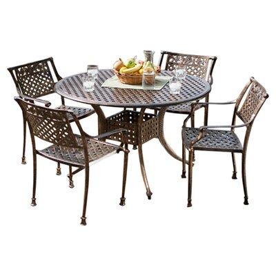 Home Loft Concepts Vigo 5 Piece Cast Aluminum Dining Set