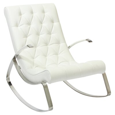 Gregory Tufted Rocking Chair Upholstery: White