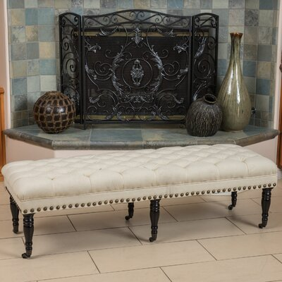 Vinewood Linen Upholstered Bench with Casters