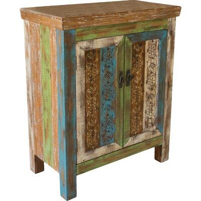 Chellis 2 Door Accent Cabinet Color: Antique Brown / Blue