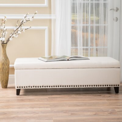 Stipe Upholstered Storage Bench Upholstery Color: Beige