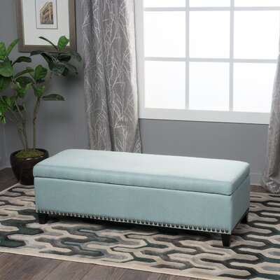 Stipe Upholstered Storage Bench Upholstery Color: Light Blue