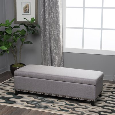 Stipe Upholstered Storage Bench Upholstery Color: Gray