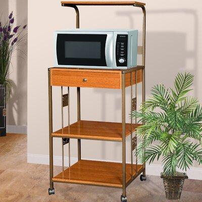 Hazelwood Home Microwave Cart with Wood Top I