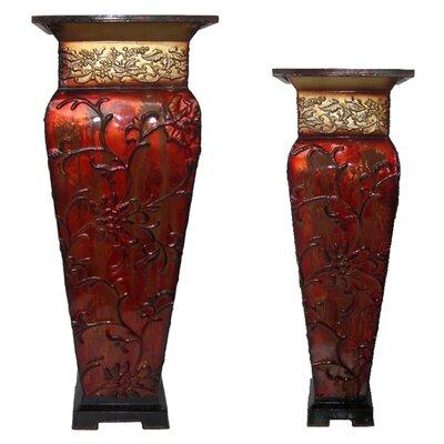 2-Piece Iron Pot Planter Set Color: Red