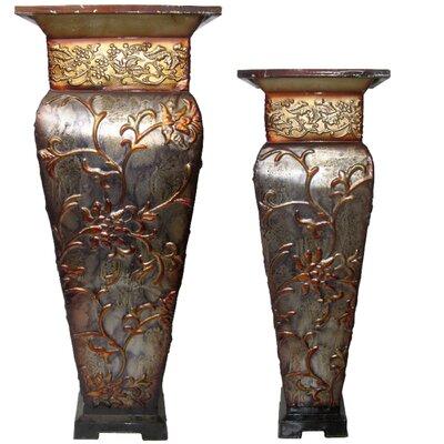 2-Piece Iron Pot Planter Set Color: Brown