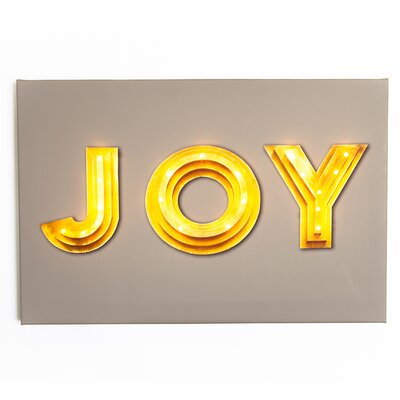 Illuminated Canvas JOY Typography on Canvas