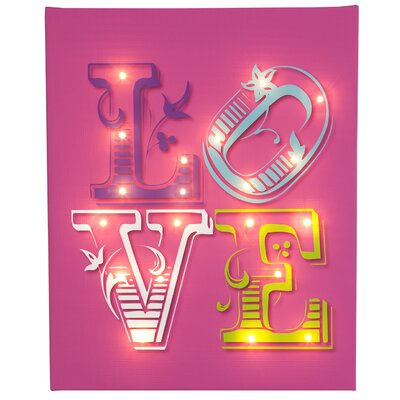 Illuminated Canvas Love Typography on Canvas in Pink