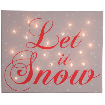 Illuminated Canvas Let it Snow Typography on Canvas in Brown