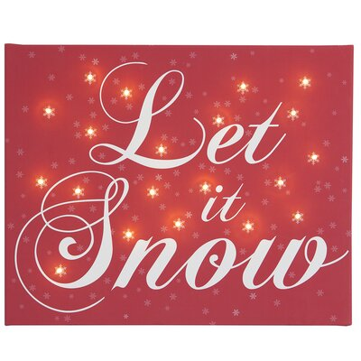 Illuminated Canvas Let it Snow Typography on Canvas in Red