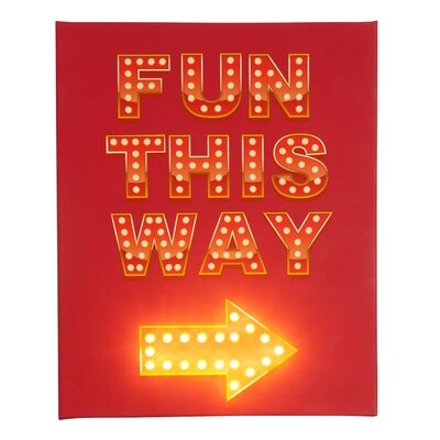 Illuminated Canvas Fun This Way Typography on Canvas in Red