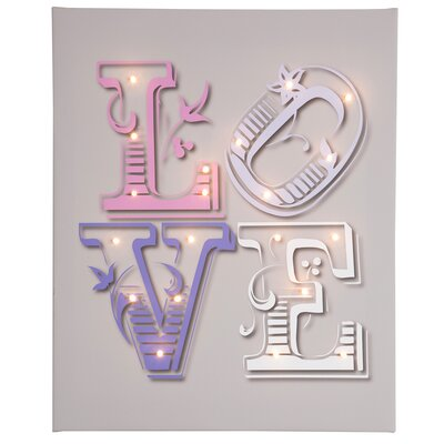 Illuminated Canvas Love Typography on Canvas in Grey