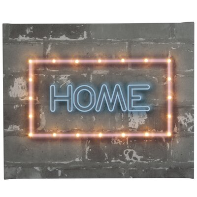 Illuminated Canvas Neon Home Typography Wrapped on Canvas